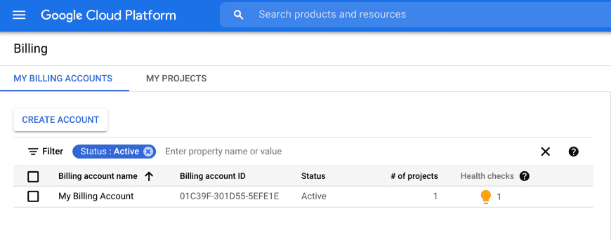 Linking Terra to a Google Billing Account